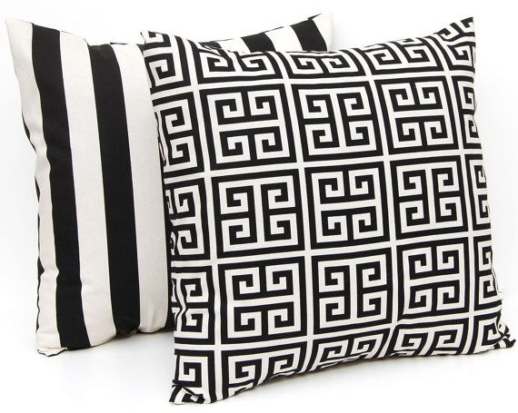 Pillow Covers Black Stripe And Greek Key Accent Pillows Awning Stripe Throw Pillow Cushion Covers 16 X 16 Inches Black Pillows Decorative Pillows Home Decor