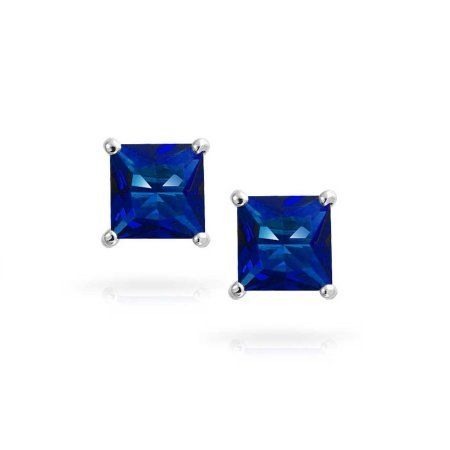 aad81adf9 Jewelers 14K Solid White Gold Birthstone Princess-cut Stud Earrings made  with Crystals Swarovski-SEP Boxed, Adult Unisex, Metal Type