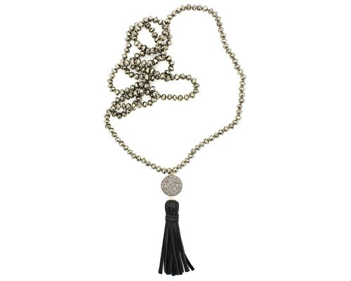 Frasier Sterling Jewelry Pyrite & Diamond Disc Necklace with Leather Tassel