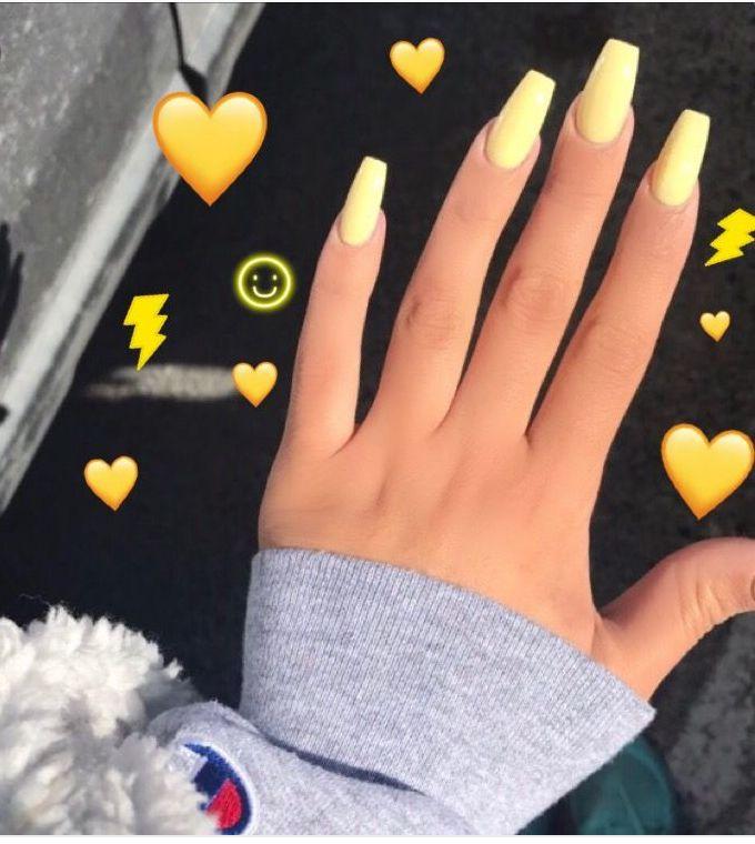 Light Yellow Nails🤩 Acrylic Nails Yellow Yellow Nails Cute Acrylic Nails