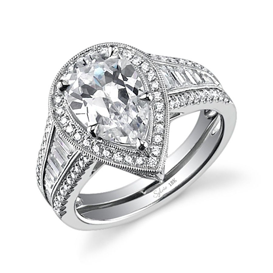 Vintage Pear Shaped Diamond Engagement Ring - Check out more pear shaped  engagement rings at MyPearShapedEngagementRings