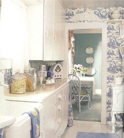 Toile Kitchen Accessories Blue Toile Wallpaper Kitchen