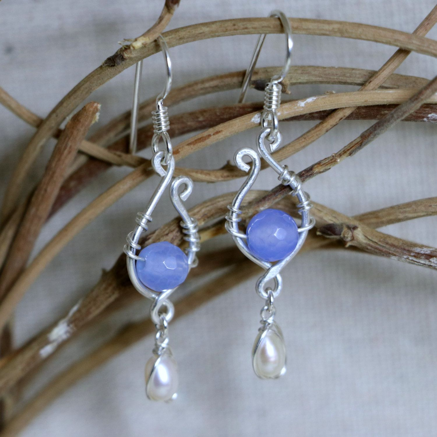 blissful skies fresh water pearl and faceted agate sterling silver