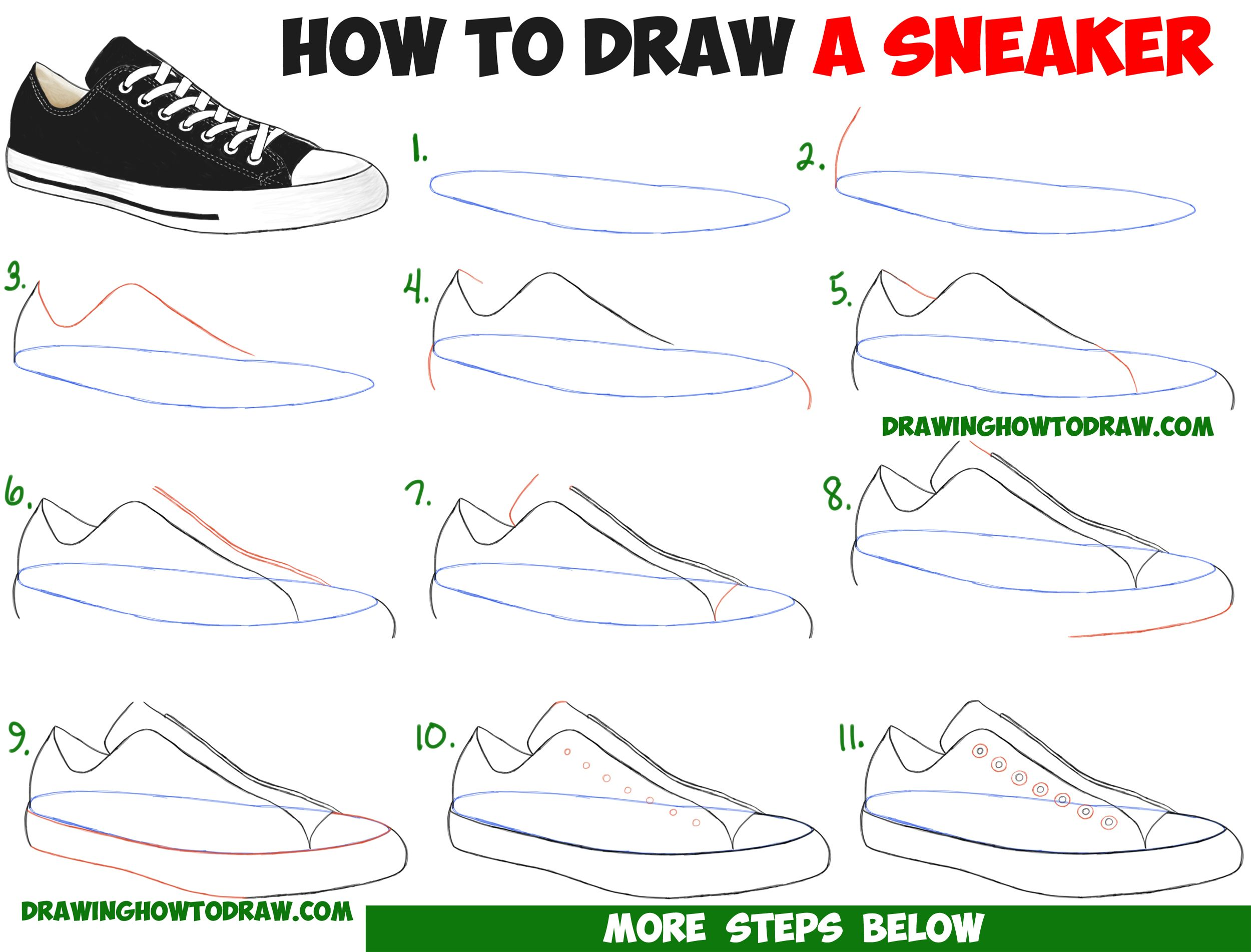 How to Draw Sneakers / Shoes with Easy Step by Step