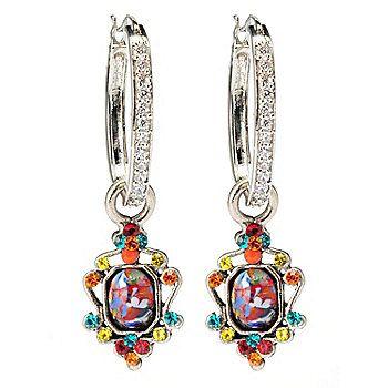 """FAITH 1.75"""" Crystal Hoop Earrings w/ Multi Color Scrollwork Charm"""
