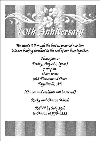 Invitations For 10th Wedding Anniversary At Cardspe