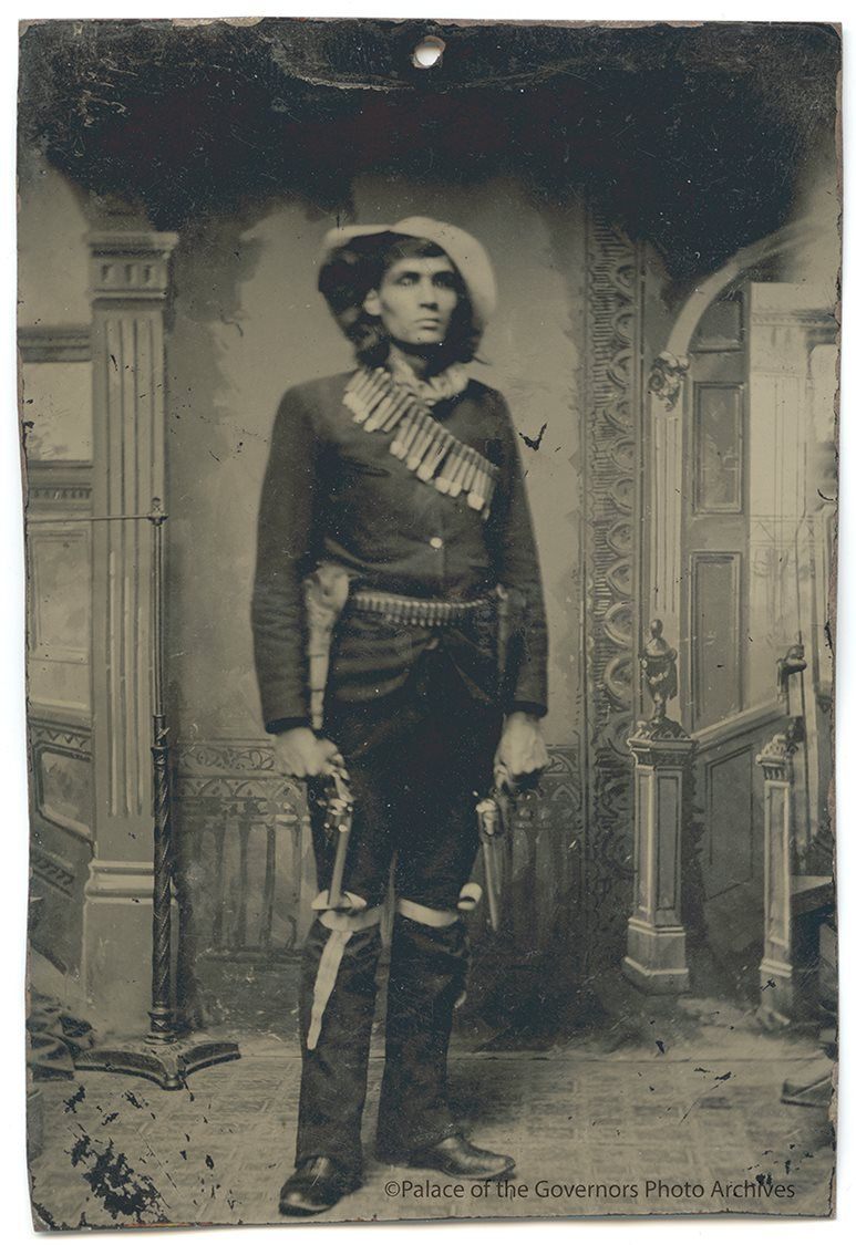 Tintype of James La Muir, French-Chippewa cowboy-scout in Apache campaign Date: 1880? Negative Number 009997