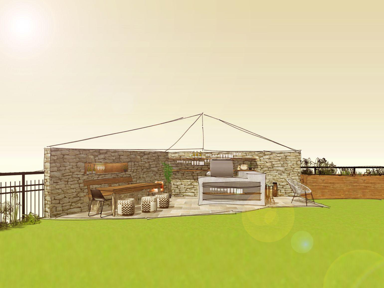 3D-Planung einer Outdoorküche mit Grill, Bartresen und angrenzenden ...