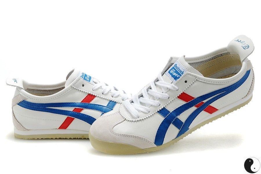 onitsuka tiger mexico 66 white blue red white leather upper with trademark asics onitsuka side. Black Bedroom Furniture Sets. Home Design Ideas