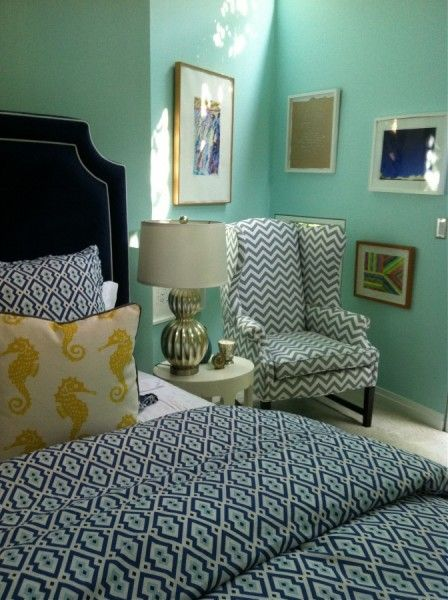 Aqua with navy white and yellow. Understated nautical. From Turquoise Design.