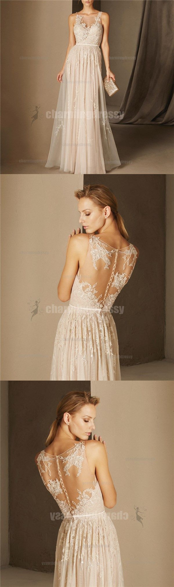 Scoop tulle a line lace fairy elegant prom dresses evening dresses