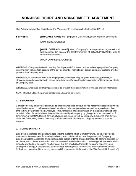 Non Disclosure And Non Compete Agreement Template Sample Form
