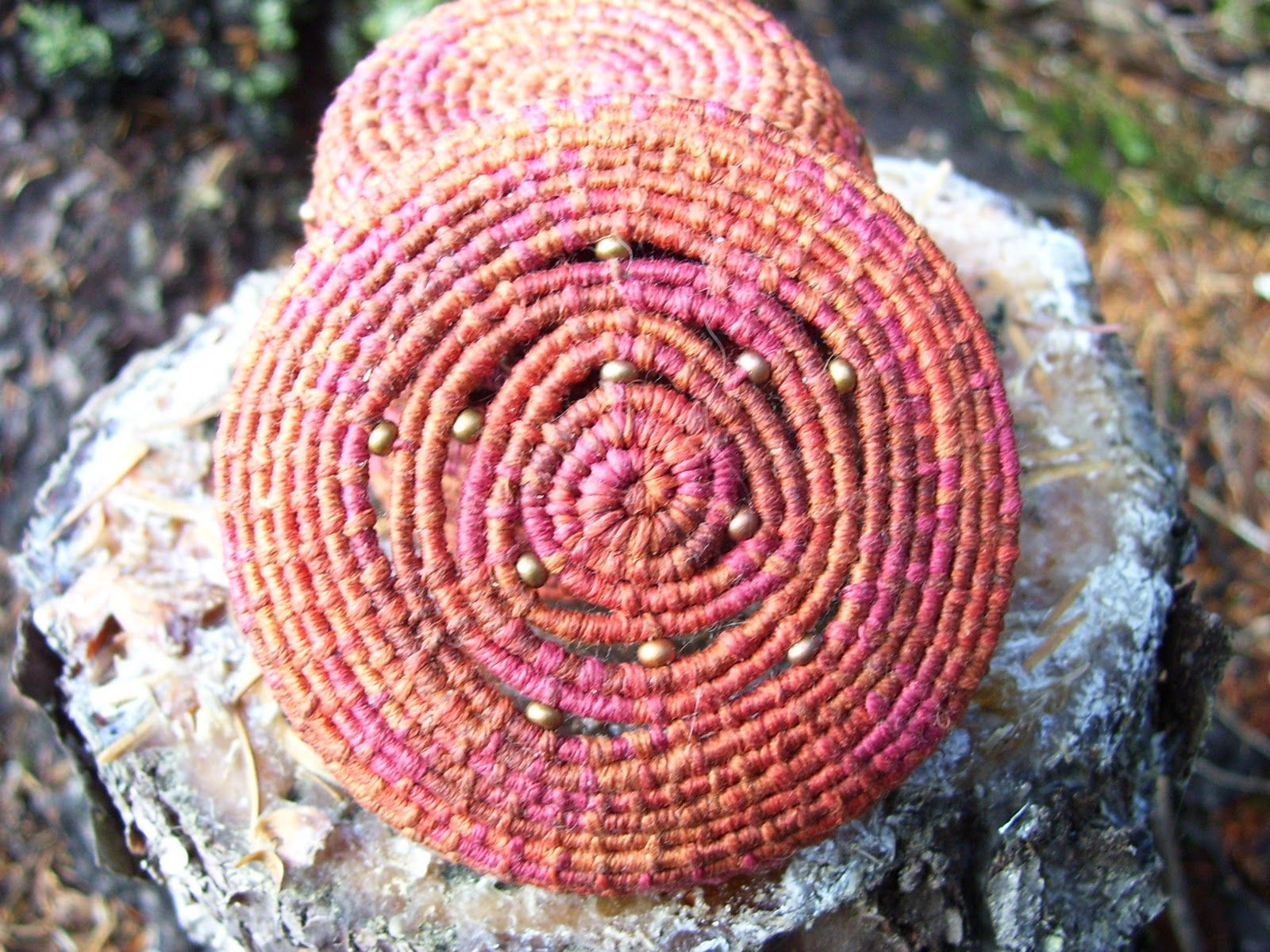 coiled basket with lid and beads