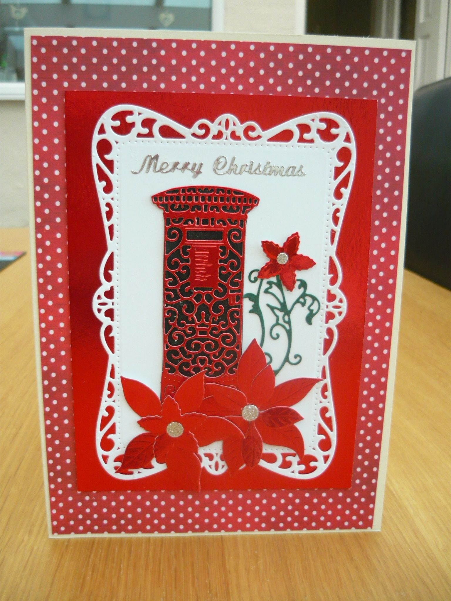 Christmas card using Post box Tattered lace die and