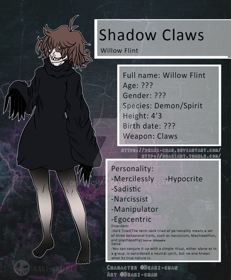 Creepypasta Shadow Claws New Ref Sheet By Deaki Chan