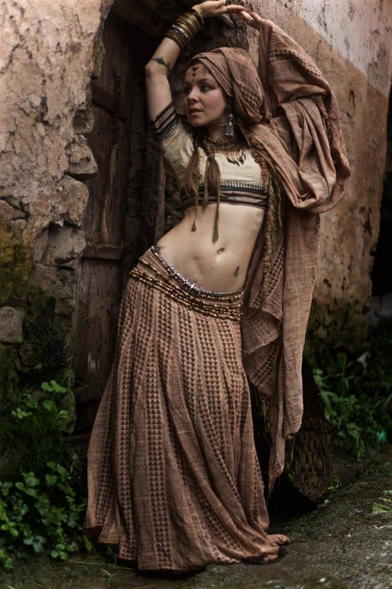 1001 night Dream Block Print gypsy Dancer long skirt Boho Tribal Earthy Natural #gypsy