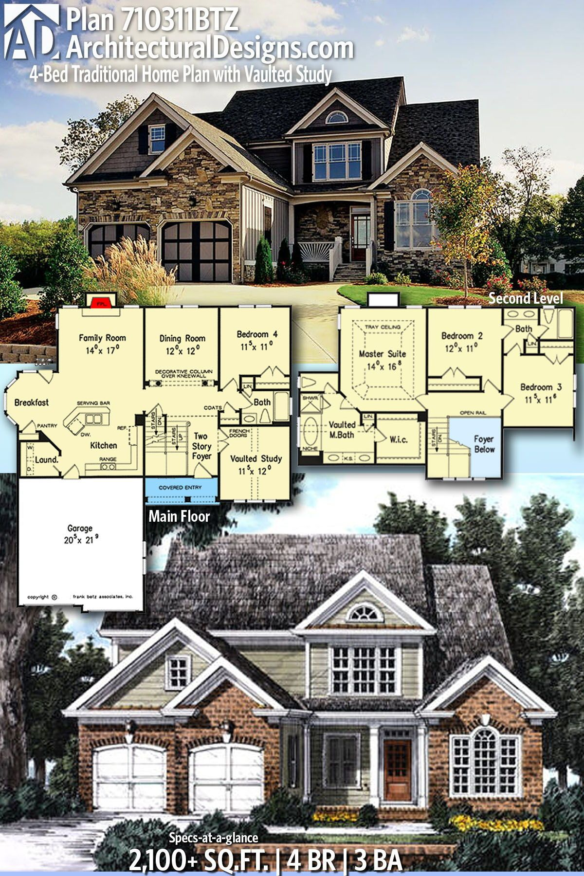 Plan 710311btz 4 Bed Traditional Home Plan With Vaulted Study