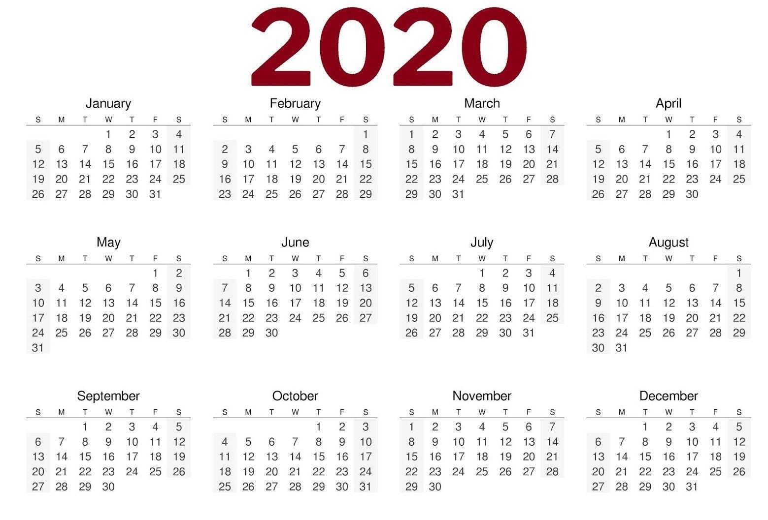 New 2020 Calendar Printable Landscape Printable calendar