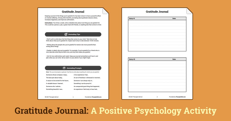 Gratitude Journal (Worksheet Positive psychology