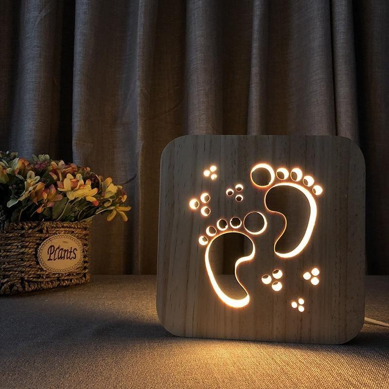 Kleine Abdrucke Holzernes Nachtlicht 3d Kreative Lampe Kleine Abdrucke Holzernes Nachtlicht 3d Htt In 2020 Kreative Lampen Holzbearbeitungsideen Nachtlicht