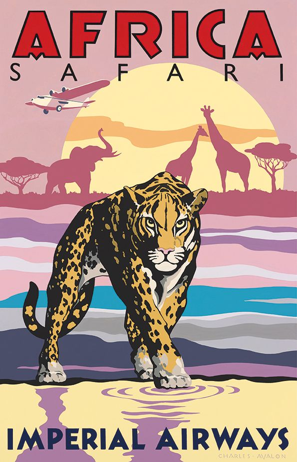 39 africa safari imperial airways 39 by charles avalon vintage travel posters art deco. Black Bedroom Furniture Sets. Home Design Ideas