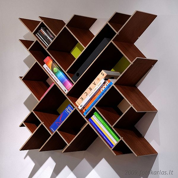 Modern Bookshelves for girls room. . .. I think I would want intersecting boards to be primary colors transforming to tertiary colors.