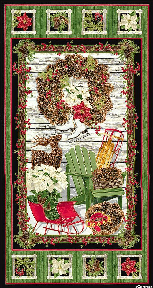 """Country Christmas - Rustic Decorations - 24"""" x 44"""" PANEL - Quilt Fabric from www.eQuilter.com"""