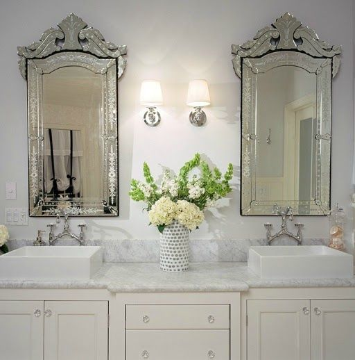 Venetian Mirrors And Sconces Bathroom