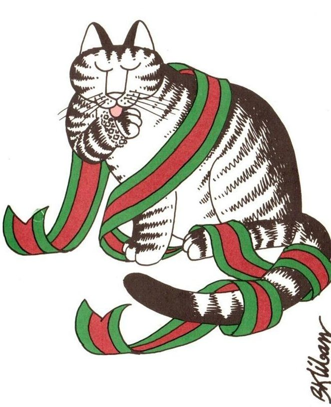 "1980 b.Kliban Cat cards for Christmas ""Merry Christmas in Italian"" 17 Card Box"