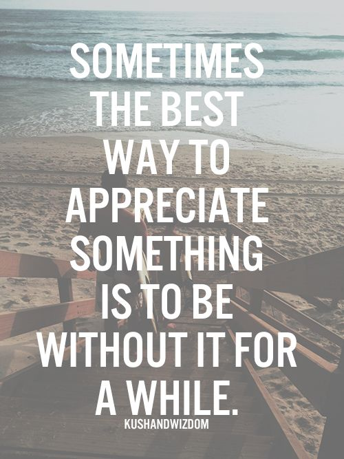 Sometimes The Best Way To Appreciate Something Is To Be Without It
