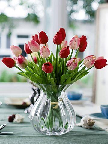 Elegant Tulip Artificial Flower And Transparent Glass Vase Lovely