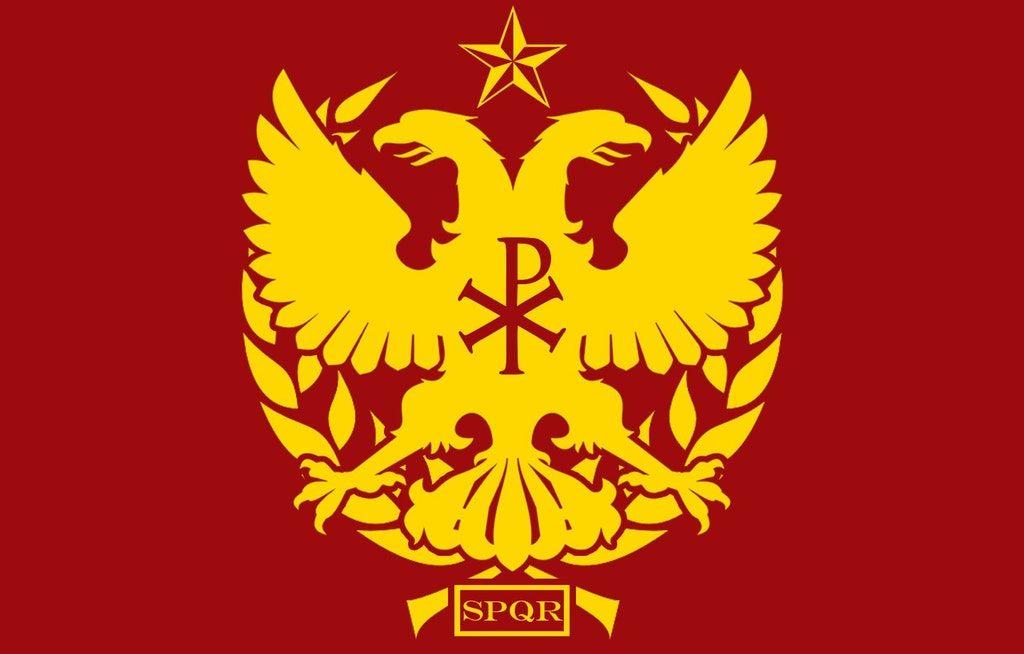 Fictional Neo Roman Flag Smashup Of Byzantium And Rome In 2020 Flag Art Byzantium Flag