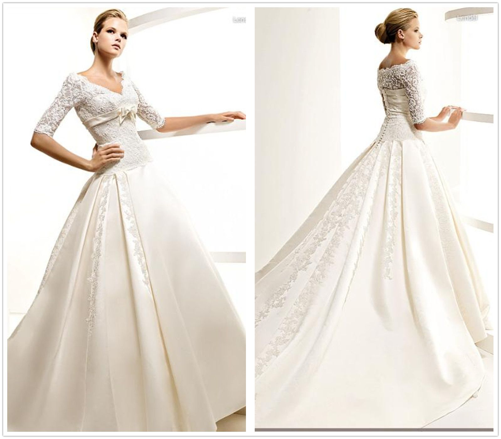 Satin And Lace Wedding Gowns: 3/4 Sleeves Lace Satin Ivory Bridal Wedding Dress A-Line
