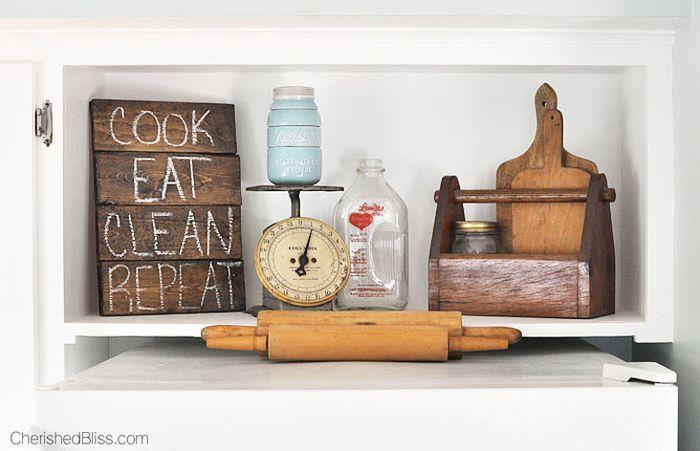 Einrichtungsideen Küche vintage küche tolle einrichtungsideen hackbrett nudelholz waage