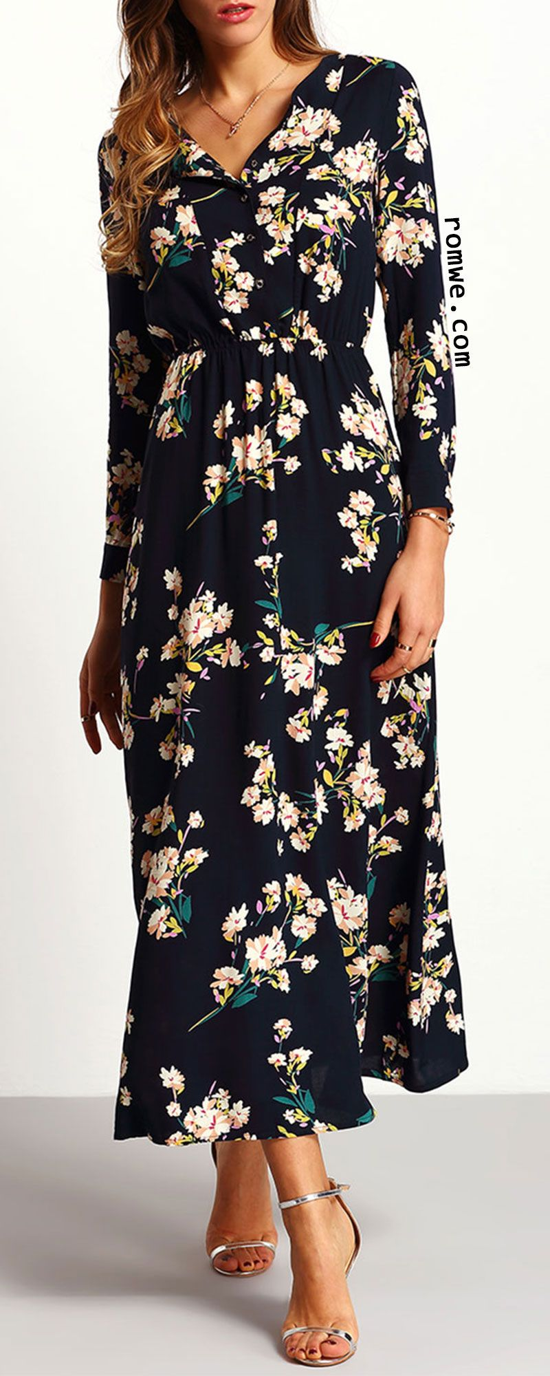 Navy long sleeve floral maxi dress everything long dresses