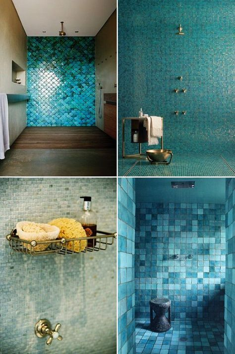 Beautiful Shades Of Ocean Blue Coastal Bathroom Tiles Green Bathroom Green Tile Bathroom Blue Green Bathrooms