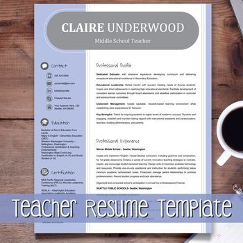 Teacher Resume Template + Cover Letter + Ref (PURPLE) Google - middle school teacher resume