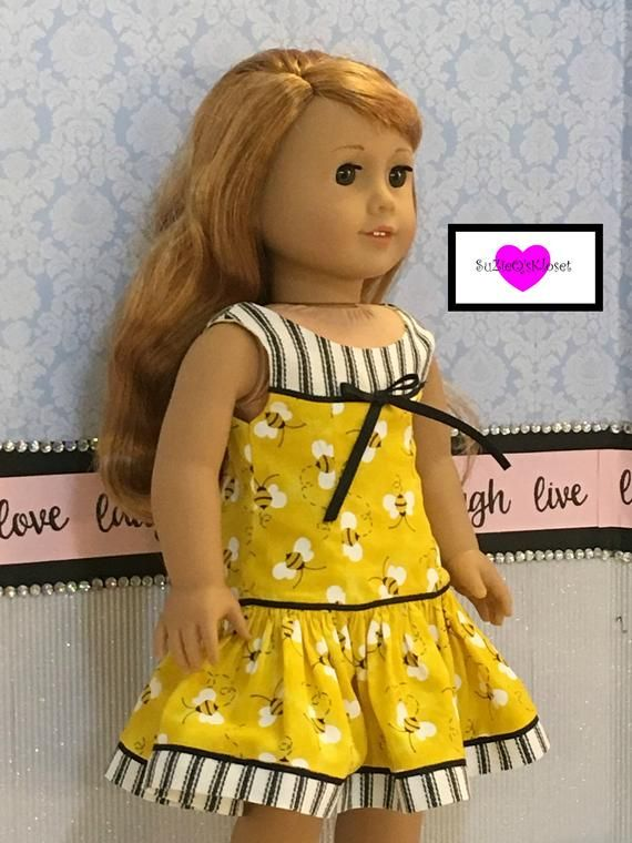 Doll Clothes, Bee themed Doll Dress for 18 inch Dolls such as Blaire #18inchdollsandclothes