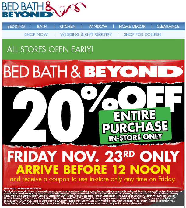 20 off before noon Friday at Bed Bath & Beyond coupon via