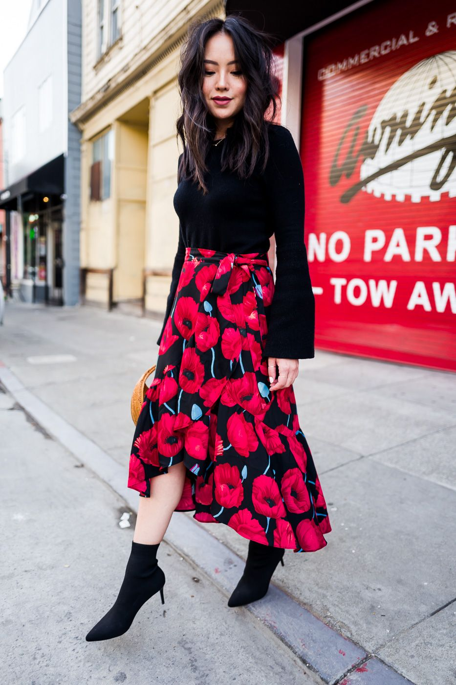 b12c0b5d49 red-and-black-floral-wrap-midi-skirt | Skirts | Floral skirt outfits ...