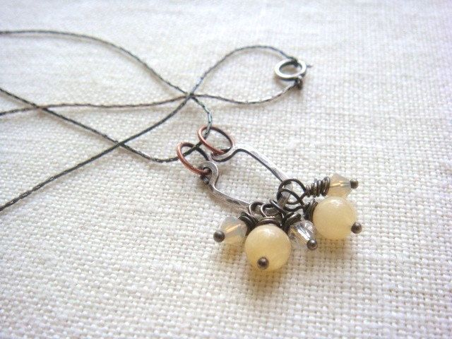 Sterling Silver Artisan Necklace Pale Yellow Chalcedony And Crystal Dangle Beads Simple Elegant  Jewelry. $28.00, via Etsy.