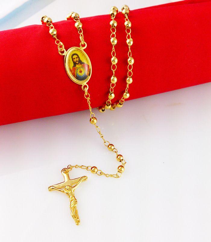 Classic catholic cross pendant Godfather yellow gold filled necklace
