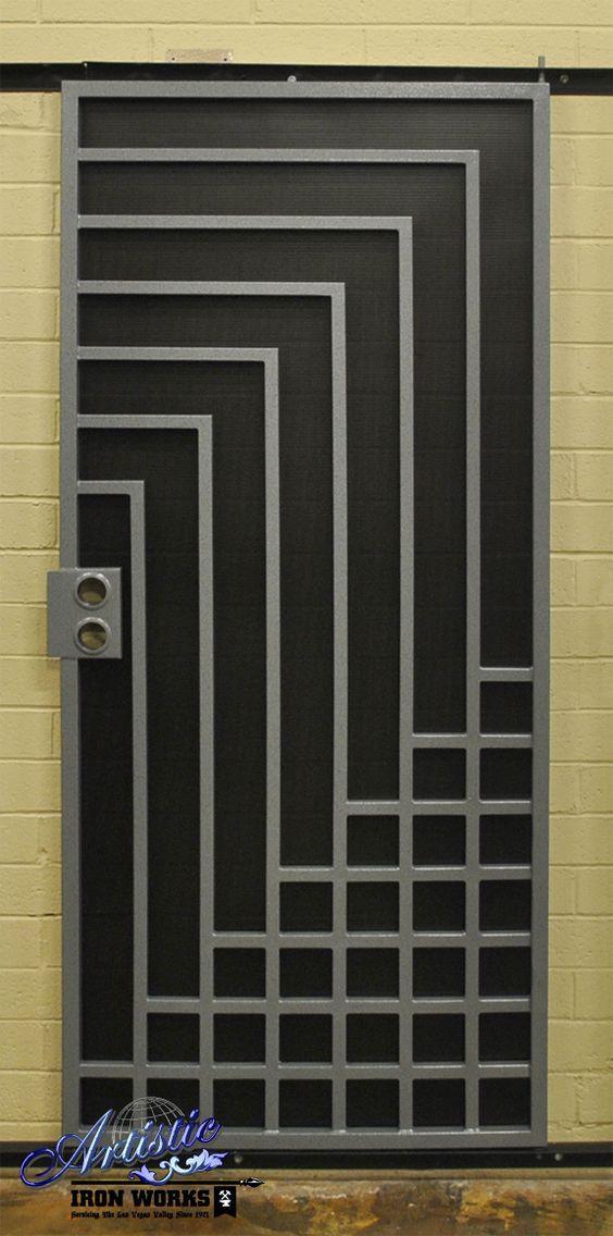 Wrought iron security screen door for Safety door design