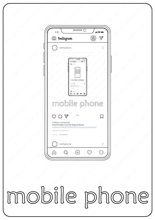 Mobile Phone Coloring Page