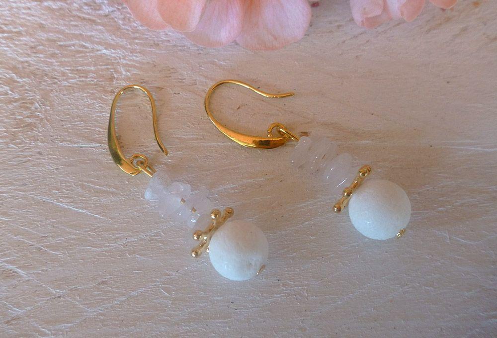 Σκουλαρίκια με χαλαζία και κοράλλι  d31f71097c1
