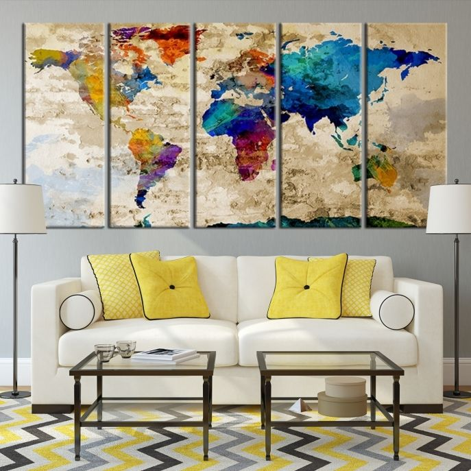 Large wall art rainbow coloured world map on old cream wall canvas large wall art rainbow coloured world map on old cream wall canvas print mygreatcanvas extra large wall art wall art print large world map gumiabroncs Gallery