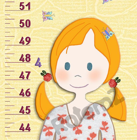 Girls Room Decor Height Chart Canvas Or Vinyl Feet Inches Or Meters Cm By Rotemz