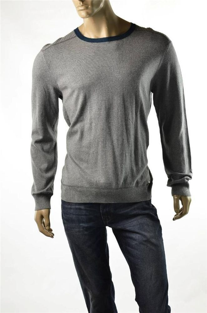 Calvin Klein Jeans Sweater Mens Gray Crewneck Pullover Jumper Shirt Sz L Nwt With Images Sweater Shirt Men Sweater Pullover Shirt