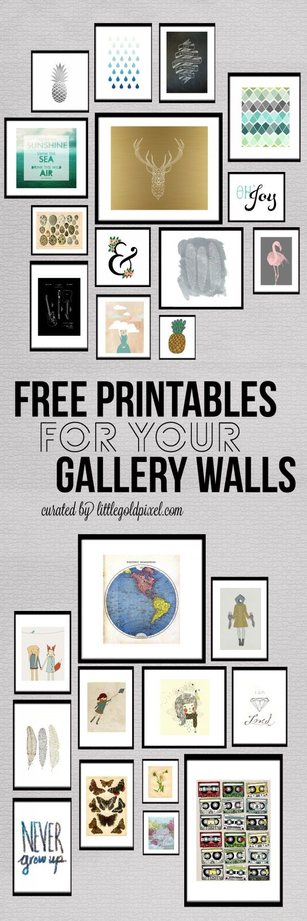 Roundup: 26 Free Printables for Gallery Walls • Little Gold Pixel  #freeprintables #freeart #gallerywall #gallerywalllayout