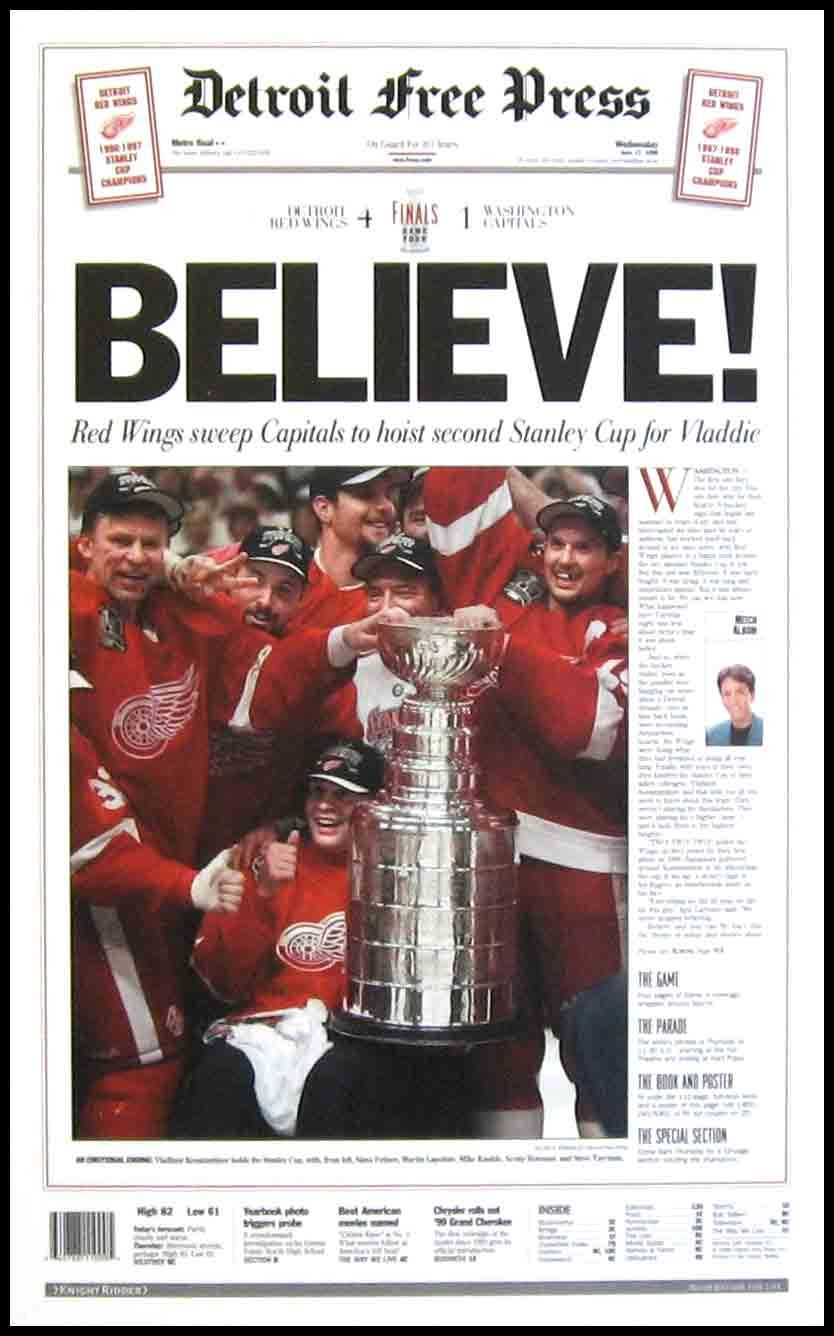 Detroit Free Press Front Page Detroit Red Wings Red Wings Detroit